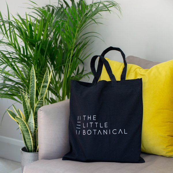 Little Botanical black tote bag on a sofa with cushions, next to two house plants