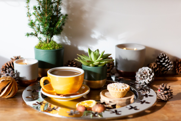 The Little Botanical Christmas Mini Gold-Tipped Miranda on a tray with pine cones, a mince pie and hot drink with mini christmas tree in the background