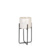 Marble effect pot in black metal plant stand